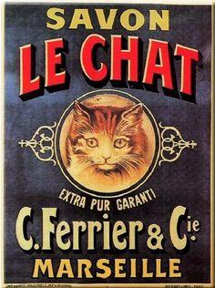 Vintage Apple Collection Poster Print Wall Art Print entitled Savon Le Chat - Vintage Soap Advertisement, None