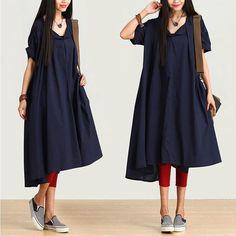Dark blue bat sleeve lace dress / irregular big swing  by dreamyil, $108.00