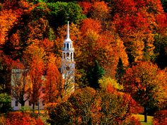 Church in Peak Fall Colors - Strafford, Vermont.known as the friendliest town in New England. New England Fall, Places In America, Autumn Scenes, Fall Wallpaper, Widescreen Wallpaper, Halloween Wallpaper, Computer Wallpaper, Fall Pictures, Fall Pics