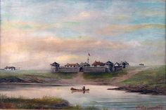 Fort Garry, at the junction of the Red & Assiniboine Rivers in 1869, just when the Métis, who had lived here in peace for generations, were starting to feel threatened by the actions of the Canadian Government. Painted by Lionel Macdonald Stephenson, a 15 year old resident, who was to paint many of these and sell them to the soldiers sent west, in 1870, to put the Métis in their place.