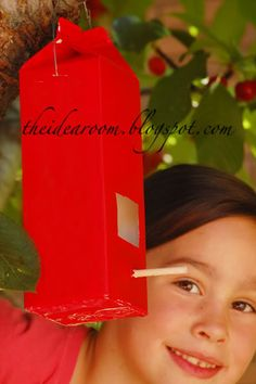 lots of craft ideas on this site    bird feeder made from milk carton!