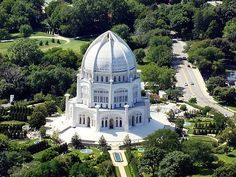 Bahá'í House of Worship. Wilmette, IL. Astrogeographic position: the midpoint of the temple is located right in between the highly magnetic fire sign leo the sign of the Sun and light and the earth sign Virgo indicator for yoga culture and opposite sign of Pisces the sign of communion with the divine. 2nd coordinate is in the highly dynamic, one-dimensional (unicellular), male fire sign Aries indicator for the tower-like structure of the building. Valid for field level 4.