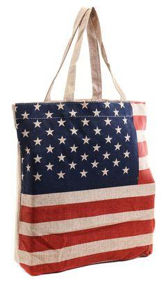 American Flag Design Dual Strap Patriotic Burlap Tote Bag Purse