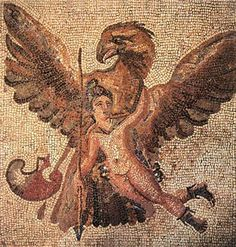 Zeus as eagle abducting Ganymede, who is wearing his trademark Phrygian cap to dispel any doubt as to his identity. Mosaic from a Roman floor, third century CE.