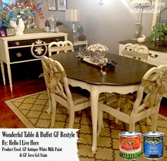 Hello I Live Here, http://www.helloilivehere.com/, refreshed these dining room pieces with GF Antique White Milk Paint and the one and only GF Java Gel Stain.  Love their new gorgeous look!  #generalfinishes #gfmilkpaint #javagel