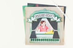 Family Album Cricut image set -- Puppet Show scrapbook page layout. Make It Now in Cricut Design Space