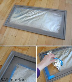 Spray Painting Tip: use foil and tape to cover glass.  If paint gets on glass, use Brillo to softly remove from glass surface.  More at sasinteriors.net