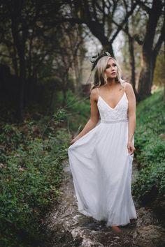 White Lace Dress Maxi Long Evening Wedding Cocktail by SkairaShop