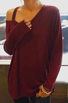 Casual V-Neck Long Sleeve T-Shirt For Women
