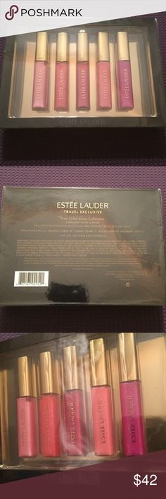 Estée Lauder Travel Exclusive Pure Color Gloss Estée Lauder Travel Exclusive Pure Color Gloss Collection. Brand new, never opened, still in plastic. Colors include: Pink Innocence 21, Blazing Coral 48, Garnet Desire 15, Rock Candy 09, Raspberry Pop 52. Each is 0.16 fl. oz/4.6ml. Estee Lauder Makeup Lip Balm & Gloss