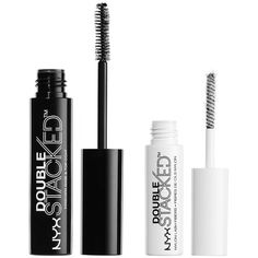 Nyx Professional Makeup Double Stacked Mascara (34 BAM) ❤ liked on Polyvore featuring beauty products, makeup, eye makeup, mascara, nyx mascara and nyx