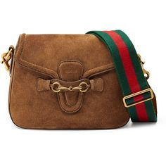 Gucci Lady Web Medium Suede Crossbody Bag (6,785 PEN) ❤ liked on Polyvore featuring bags, handbags, shoulder bags, purses, brown, crossbody shoulder bags, brown cross body purse, brown suede handbag, crossbody purse and shoulder strap handbags