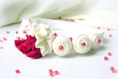 Fabric flower matching headband  red white girl newborn by mapano, $11.00