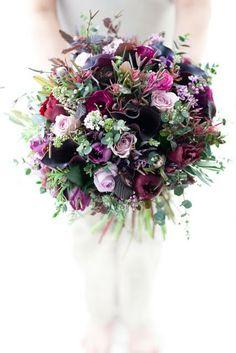 lilac rose, black currant zantedeschia, bluegreen eucalyptus handtied bouquet, zita elze