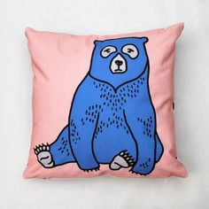 Add a dash of colour with this bold illustrated cushion with charming bear design.Available in two colour variation with either a blue bear on a pink background or vice versa. Cover should be turned inside out when washing at a maximum of 30ºC. This cushion makes a perfect gift or addition to the design inspired home or kid's bedroom. Illustrated bear design featured on the front with a black and white 'dashes' pattern printed on the reverse for versatile use. Comes with hollow fibre ...