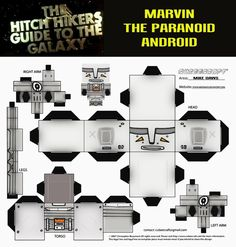 Marvin the Paranoid Android Papercraft model (80s version)