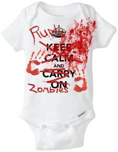 """Baby Halloween Onesie Costume: """"Keep Calm and Carry On / RUN - ZOMBIES"""" Funny Baby Onesie Shirt for Baby Boy or Baby Girl Preemie Size"""