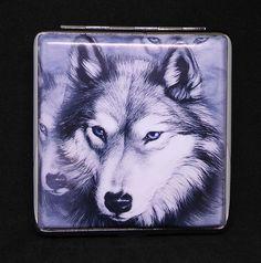 Fujima Wolf Grey Background Double Sided PU Leather King Size Cigarette Case