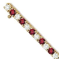 Lab Created Ruby and CZ Tennis Bracelet, 6.25 Ct TW Yellow Gold