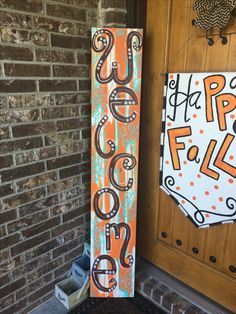Fence Signs, Porch Signs, Wood Plank Art, Wood Art, Pallet Christmas Tree, Fall Door Hangers, Painted Boards, Outdoor Signs, Fall Signs
