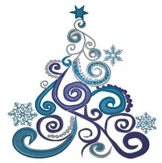 King Graphics Embroidery Design: Swirly Christmas Tree 4.50 inches H x 4.40 inches W