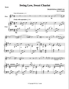 Swing Low, Sweet Chariot for Oboe and Piano (Alternate parts available) Oboe, Clarinet, Swing Low Sweet Chariot, English Horn, Flute, Piano, Sheet Music, Pianos, Flutes