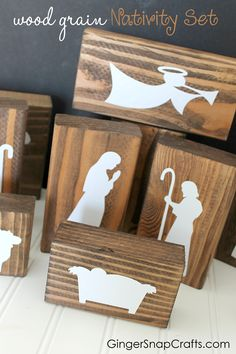 Ginger Snap Crafts: Wood Grain Nativity made with the Silhouette