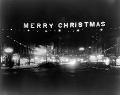 Fayetteville St, Raleigh, NC Christmas Decorations, 1938, via Flickr.