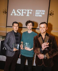 Aesthetica Short Film Festival 2014 - Winners Robert Hackett & Alan Holly with Greg McGee, Awards Ceremony. Courtesy and Copyright Jim Poyner asff.co.uk