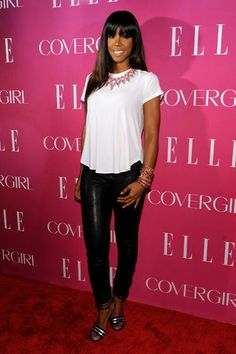 Kelly rowland swing top w/ jewels and leather pants