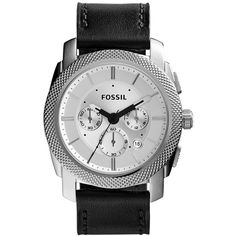 Fossil Machine Leather and Stainless Steel Watch Men's Black Mens Watches Under 100, Fossil Watches For Men, Black Fossil Watch, Gentleman Watch, Authentic Watches, Black Leather Watch, Leather Wristbands, Luxury Sunglasses, Stainless Steel Watch