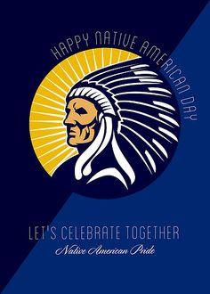 Happy Native American Day Retro Poster Card by patrimonio
