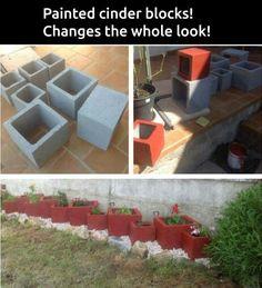 Painted cinder blocks planters.
