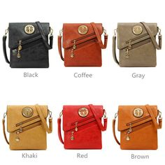 Women Vintage PU Leather Shoulder Bags Sied-Zip Crossbody Bags Messenger Bags - US$25.80