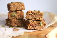 Pumpkin and Oat Breakfast Bars recipe. Moist breakfast bars made with fresh pumpkin, sweetened with medjool dates and beautifully spiced with cinnamon, cardamom, ginger and cloves.