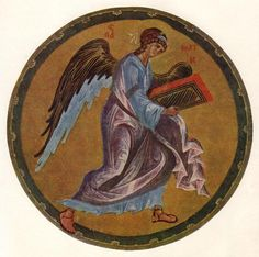 The Angel of Matthew, 1400 by Andrei Rublev. Byzantine. miniature. Russian State Library, Moscow, Russia