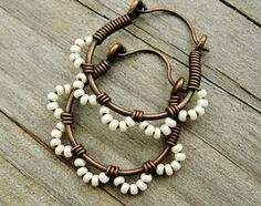 Ruffle Bottom Hoops - Wire Wrapped Hoop Earrings - cream pearl and antiqued copper seed beaded cuties