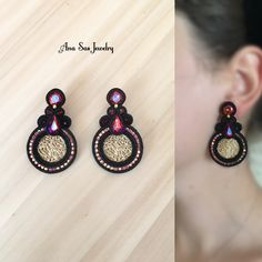 Soutache earrings by Ana Sas Jewelry www. Soutache Tutorial, Earring Trends, Earring Cards, Fimo Clay, Soutache Jewelry, Shibori, Beaded Embroidery, Tassel Necklace, Diy And Crafts