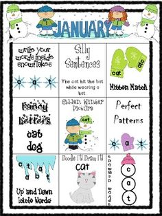 $1 January Word Work Choice Board for Morning Work, Centers, or Homework.