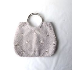 vintage 1960's blush pink white pearl beaded purse round silver handles handbag formal evening retro fashion accessories accessory womens by RecycleBuyVintage on Etsy