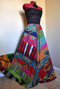 Careless Muse - Bold multicolored, flared A-line African patchwork skirt.    • One-of-a-kind, random diagonal patchwork skirt constructed from a