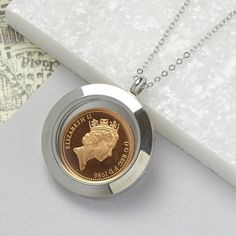 Charlie Boots 2016 Lucky Penny Glass Locket Necklace (£11) ❤ liked on Polyvore featuring jewelry, necklaces, coin necklaces, birthday necklace, glass jewelry, glass necklace and locket jewelry