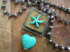 Starfish crochet necklace - Water Baby - Turquoise jewelry boho necklace soldered pendant, nautical ocean beach jewelry sea star heart