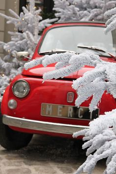 red little car in the snow