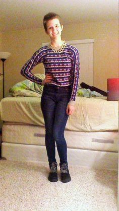"""Daily Outfit!  Today I am wearing what I call my """"Bill Cosby Sweater"""" from Forever 21, with my gold chain necklace from Charlotte Russe. My high-waisted jeans are STS Blue and my black lug boots are also from Charlotte Russe."""