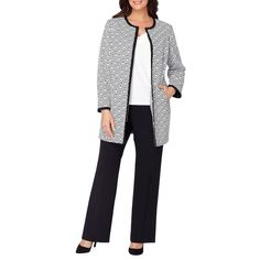Tahari Arthur S. Levine Women's Geometric Printed Open-Front Jacket ($159) ❤ liked on Polyvore featuring outerwear, jackets, white black, open front jacket, tahari by arthur s. levine, black and white jacket, black white jacket and white and black jacket