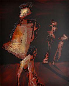 """Vitor Chab (1930 -     ) – Artista influenciado pela corrente surrealista e pelos textos de André Breton, que se convertem no seu referente poético. É uma época de grande atividade intelectual, durante a qual o artista toma contato sistematicamente com a arte universal e contemporânea.    """"Reunión al atardecer"""", de 1993 – Nesta obra as figuras estão presentes em espaços geométricos, onde surge o tema da figura humana nua, geralmente sugerida a partir de fragmentos."""