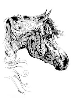 Indian Ink Art on Behance Horse Zentangle Doodles Zentangles, Zentangle Drawings, Zentangle Patterns, Art Drawings, Colouring Pages, Adult Coloring Pages, Grafic Design, Estilo Tribal, Equine Art