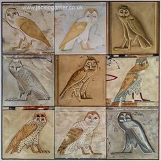 "The owl hieroglyph fascinates me. This image is made up of nine versions from a wide range of chronology and geography. It shows how certain aspects of the hieroglyph were constant and some were changeable. It's not quite right for any particular owl species, having elements of several, so I think of it as ""essence of owl""."