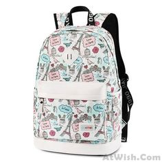 Wow~ Awesome Cute Canvas Travel Bag School Rucksack Sweet Cartoon Eiffel Tower School Backpack ! It only $36.99 at www.AtWish.com! I like it so much<3<3!